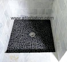 stone shower floor tile polished black pebble tiles and showers cleaning