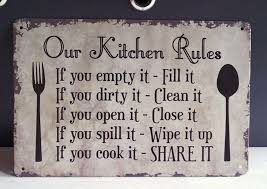 retro tin signs our kitchen rules