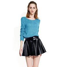 abbylexi women s shiny disco mini skirt metallic faux leather skirts black