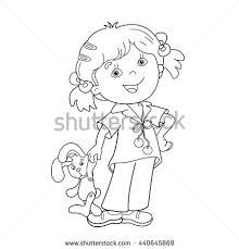 Small Picture Coloring Page Outline Cartoon Girl Headphones Stock Vector
