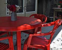 plastic patio furniture painted red