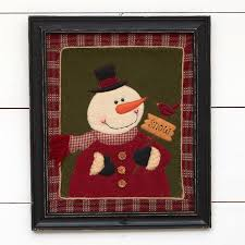 click here for a larger view on primitive christmas wall art with primitive framed fabric snowman wall art wall art christmas and