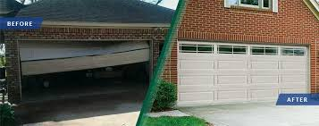 a before and after photo of a garage door