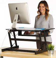 com the house of trade standing desk height adjule sit to stand up desk riser 32in wide fits dual monitors office s