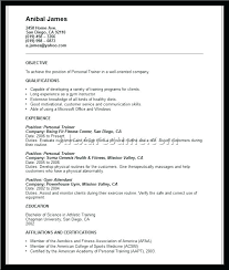 Personal Trainer Resume Sample No Experience Training Objectives