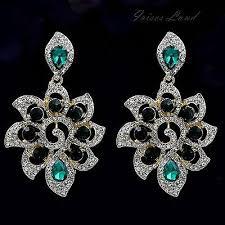 18k gold plated green crystal rhinestone drop dangle chandelier earrings 00207