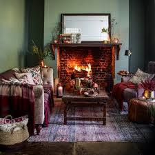 sage green country living room with brick fireplace