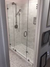 Frameless Shower Door Between Two Panels   Medford Lakes, NJ
