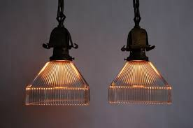 set of 10 brass arts crafts holophane pendant lights from historic 1903 church