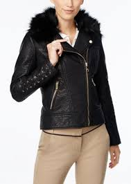 faux fur collar faux leather moto jacket guess