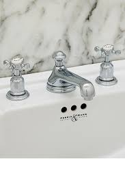 perrin rowe lifestyle: perrin amp rowe  three hole basin set with low profile spout with crosshead handles