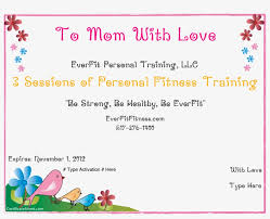 Customizable Gift Certificate Gift Certificate Template Mothers