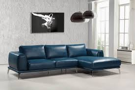 casa drancy modern blue bonded leather sectional sofa