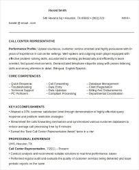 Call Center Representative Resume in Word