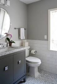 white and gray bathroom ideas. This Colorful, Small Gray Bathroom Makeover Can Be Done In Just 1 Weekend With Grant Paint, Weathered White And A Pretty Wall Stencil! Ideas Y