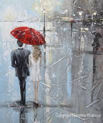 couple with red umbrella wall art