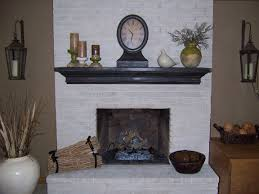 painted white brick fireplaceDecor White Brick Fireplace With Wooden Planked Mantle And Wall