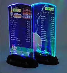 Menu Display Stands Restaurant 100pcs Acrylic Flash LED Light up table menu Acrylic Illuminated 17