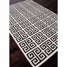 rugs flat weave geometric pattern wool ivory black area rug 5x8 wayfair
