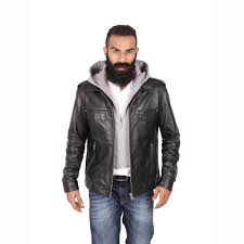 theo ash men s leather jacket with hood men s leather coats leather hoo