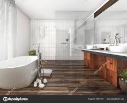 3d Rendering Holz Und Fliesen Design Badezimmer In Der Nähe Von