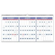 Pm1428 At A Glance 3 Months Horizontal Wall Calendar Aagpm1428