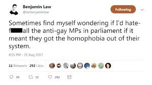 gay marriage vote in benjamin law slammed by mps for  benjamin law s tweet has caused controversy