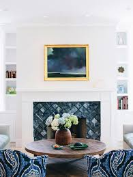 blue and gray arabesque fireplace tiles