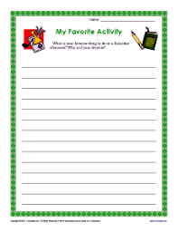 my favorite activity descriptive writing prompt for rd and th  my favorite activity writing activity