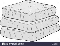 stack of mattresses. Isolated Stack Of Cartoon Mattresses On White Background - Stock Image S