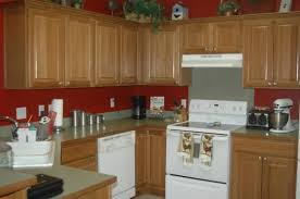 image of kitchen paint color ideas with oak cabinets dark red