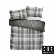 charcoal connolly check 100 brushed cotton duvet cover set super king