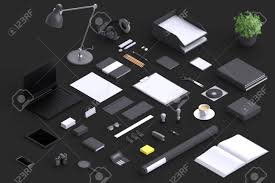 designer office desk isolated objects top view. Set Of Variety Blank Office Objects Organized For Company Presentation Or Branding Identity With Modern Designer Desk Isolated Top View