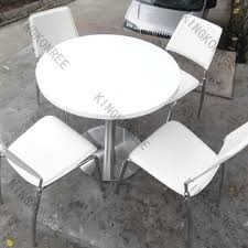 round white solid surface restaurant table and chairs for