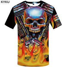 <b>KYKU Brand Skull T</b> Shirt Women Hip Hop Clothing Flame 3d T Shirt ...