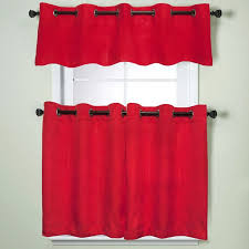 modern sublte textured solid red kitchen curtains with grommets tiers and valance 24 inch tier pair red