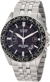 stainless steel watch features a black round face number markers whether you travel to the far corners of the world or only dream of them this citizen watch ensures your punctuality its atomic timekeeping