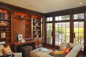 contemporary home office furniture tv. Contemporary Den Home Office With Tv Above Desk Furniture