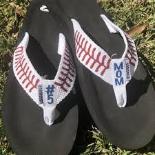 O Rageous Size Chart Personalized Baseball Flip Flops Custom Sandals With Stitches Baseball Mom Softball Mom Baseball Mom Slippers Softball Mom Flip Flops