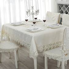 white lace tablecloth dining room
