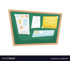 Notice Board Design Templates Chalk Bulletin Board With Papers