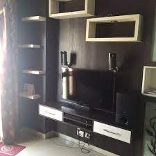 wood brown wall mount led tv cabinet
