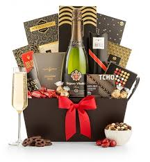 chagne and chocolate pairing gift basket