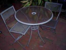 outdoor 3 piece wrought iron setting 1 round table 2 chairs