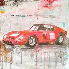 art painting mixed a car legends ferrari gto 250 drawing abstract painting wall decor home decor decorative arts gift ideas