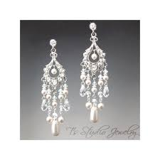 long bridal pearl chandelier earrings with crystals rhinestones