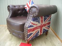 stunning union jack leather and material chesterfield club chair