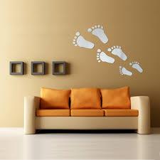 Wall Decor Sticker 6pcs Diy Footprint Acrylic Wall Sticker Fat Footprints Mirror Wall
