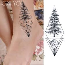 Us 039 15 Offiorikyo Black Geometric Temporary Tattoo Women Stickers Body Arm Waterproof Tatoos Pine Tree Hilltop Men Ankle Fake Tattoo Paste In