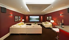 Decorations:Alluring House Theater Interior With Maroon Walls Also Deep  Tray Ceiling And White Furniture